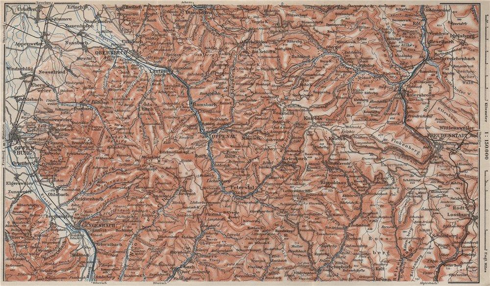 Associate Product SCHWARZWALD 2. BLACK FOREST. REENCHTAL Kniebis-Alexanderschanze  karte 1906 map