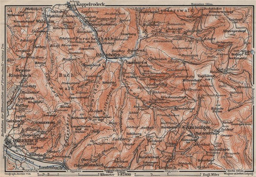 Associate Product SCHWARZWALD. BLACK FOREST. Oberkirch Ottenhöfen Kloster Allerheiligen 1906 map