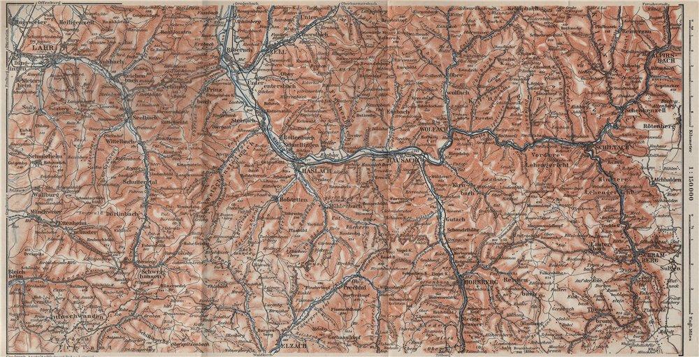 Associate Product SCHWARZWALD 3. BLACK FOREST. KINZIGTAL. Haslach Lahr Hausach Schiltach 1906 map