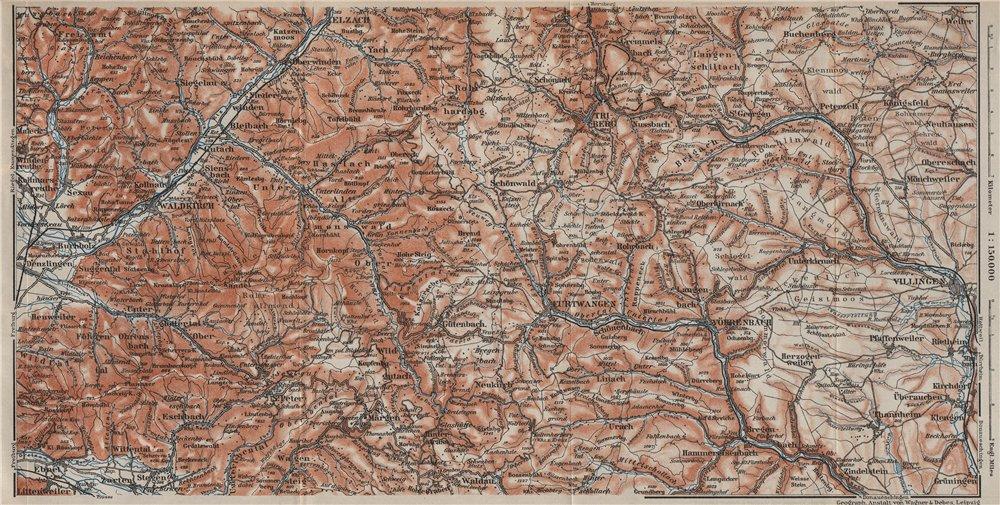 Associate Product SCHWARZWALD 4. BLACK FOREST.ELZTAL Kandel Rohrhardsberg Yacher Zinken  1906 map