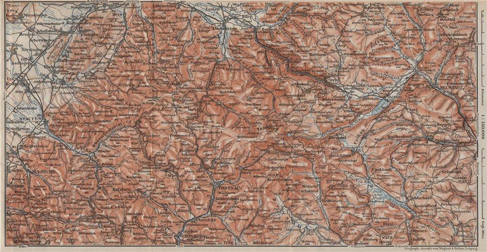 Associate Product SCHWARZWALD 5. BLACK FOREST. HÖLLENTAL Feldberg Belchen Schauinsland 1906 map