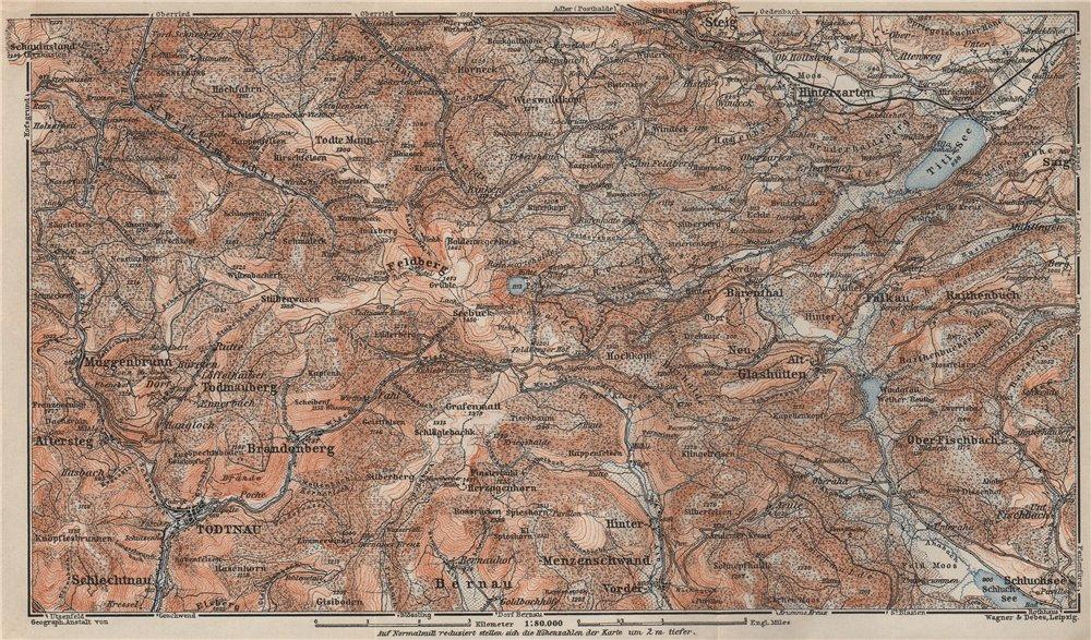 Associate Product SCHWARZWALD. BLACK FOREST. FELDBERG Todtnauberg Bisten Hintzarten Moor 1906 map