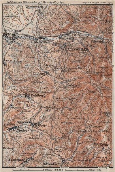 Associate Product BADENWEILER environs. Müllheim Markgräflerland Blauen Schwarzwald 1906 old map