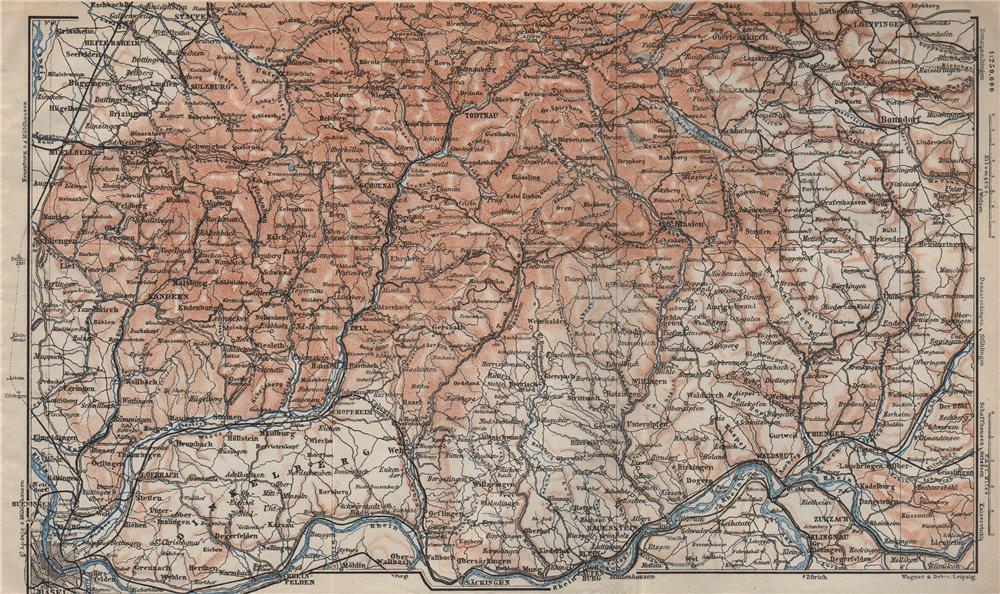 Associate Product SÜDSCHWARDWALD. BLACK FOREST SOUTHERN VALLEYS. Basel Lörrach Schopfheim 1906 map