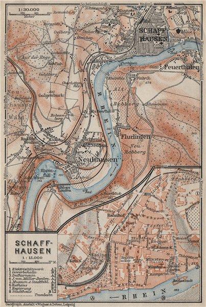Associate Product SCHAFFHAUSEN town city stadtplan & umgebung. Rheinfall. Rhine falls 1906 map