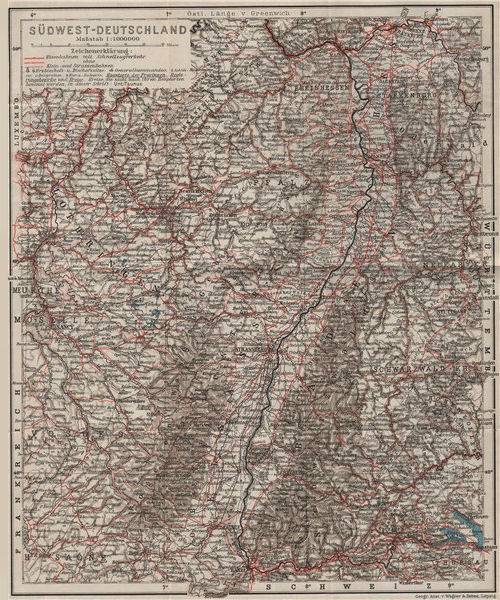 SW GERMANY SÜDWEST-DEUTSCHLAND inc. Reichsland Elsaß-Lothringen. Baden 1906 map