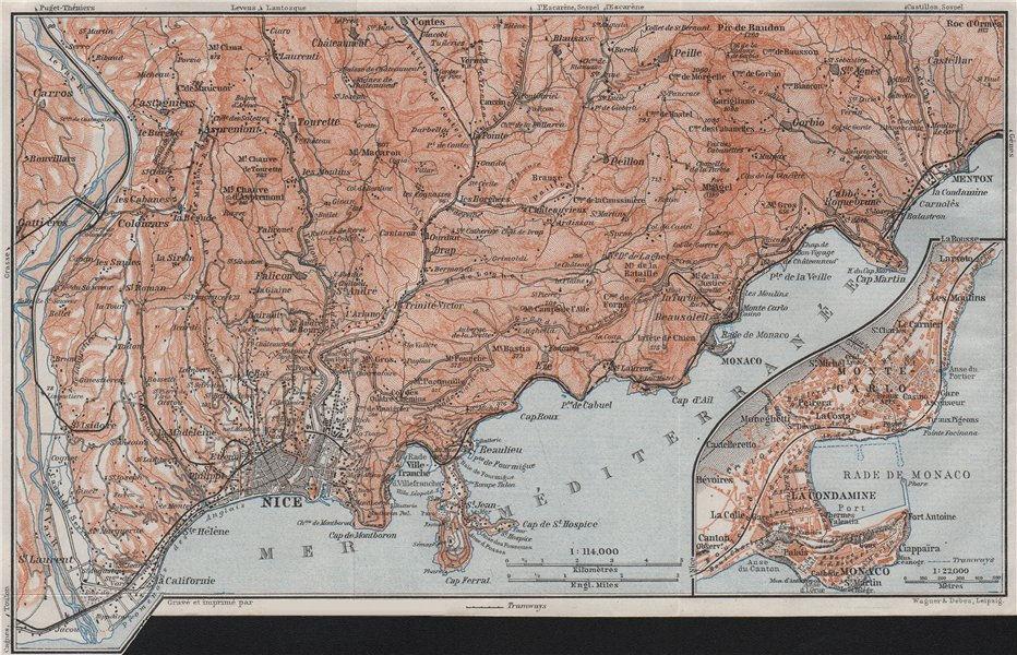 Associate Product NICE environs. BEAULIEU plan. Monaco Cap Ferrat Menton Villefranche 1907 map