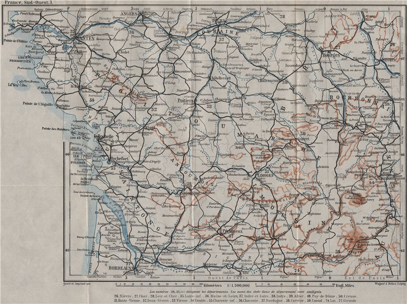 Associate Product SOUTH-WESTERN FRANCE. Poitou Touraine Limousin Berry Aunis Saintonge 1907 map