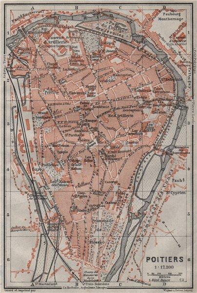 Associate Product POITIERS antique town city plan de la ville. Vienne carte. BAEDEKER 1907 map