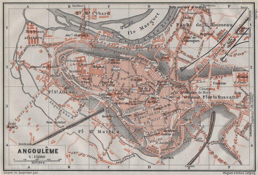 Associate Product ANGOULÊME antique town city plan de la ville. Charente carte. BAEDEKER 1907 map