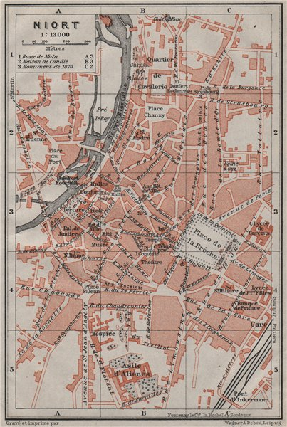 Associate Product NIORT antique town city plan de la ville. Deux-Sèvres carte. BAEDEKER 1907 map