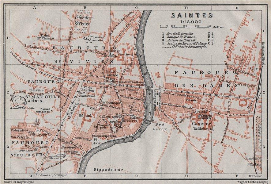 Associate Product SAINTES antique town city plan de la ville. Charente-Maritime carte 1907 map