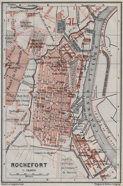 Associate Product ROCHEFORT antique town city plan de la ville. France carte. BAEDEKER 1907 map