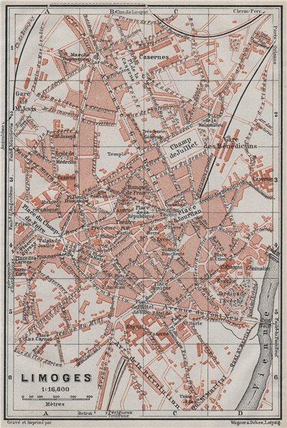 Associate Product LIMOGES antique town city plan de la ville. Haute-Vienne carte 1907 old map