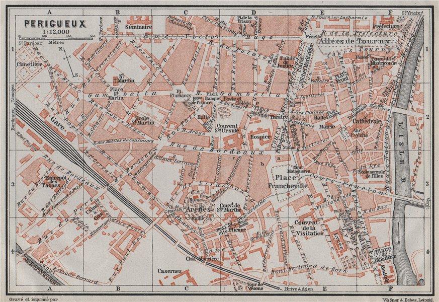 Associate Product PERIGUEUX PÉRIGUEUX antique town city plan de la ville. Dordogne carte 1907 map