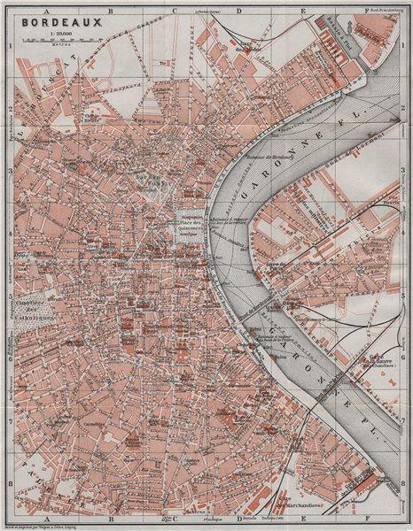 Associate Product BORDEAUX antique town city plan de la ville. Gironde carte. BAEDEKER 1907 map