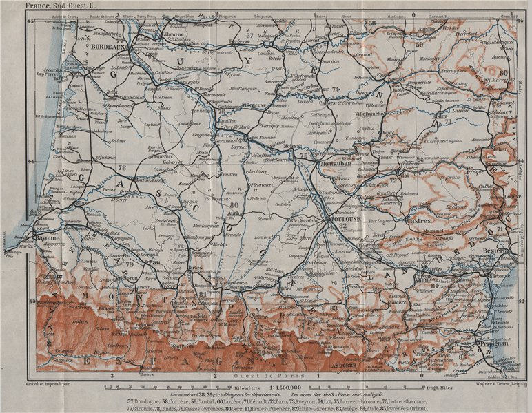Associate Product SOUTH-WESTERN FRANCE. Guyenne Languedoc Gascogne Roussillon Bearn 1907 old map