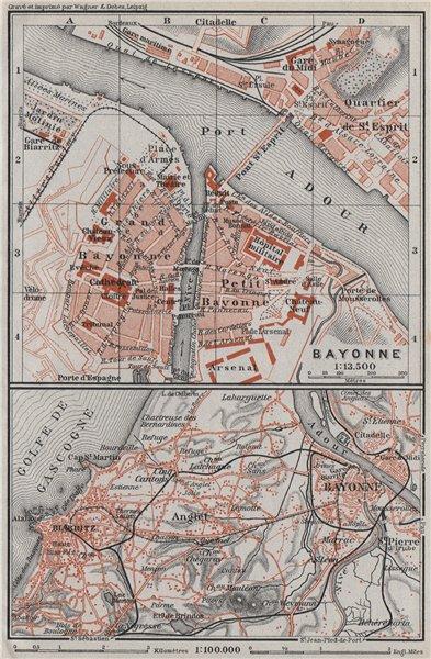 Associate Product BAYONNE town city plan & environs. Biarritz. Pyrénées-Atlantiques 1907 old map