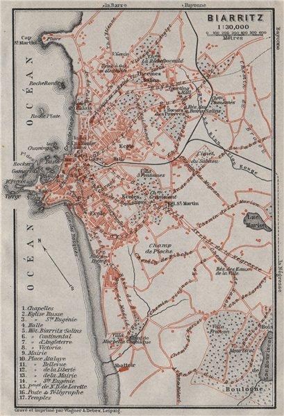 Associate Product BIARRITZ town city plan de la ville. Pyrénées-Atlantiques carte 1907 old map
