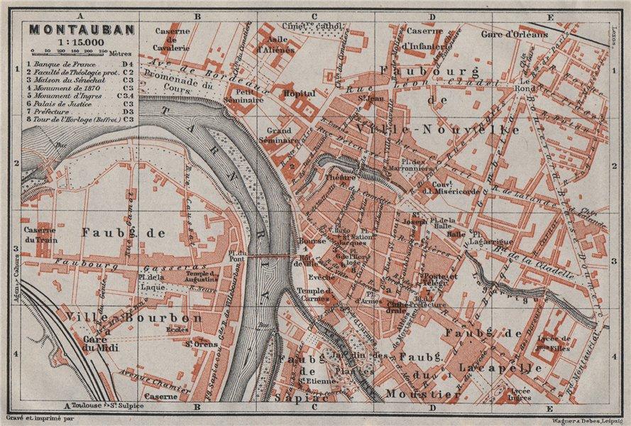 Associate Product MONTAUBAN antique town city plan de la ville. Tarn-et-Garonne carte 1907 map