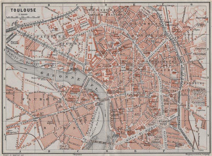 Associate Product TOULOUSE antique town city plan de la ville. Haute-Garonne carte 1907 old map