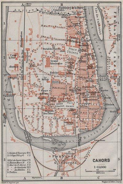 Associate Product CAHORS antique town city plan de la ville. Lot carte. BAEDEKER 1907 old map
