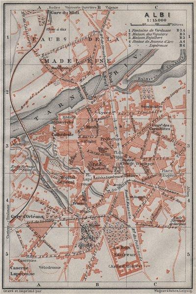 Associate Product ALBI antique town city plan de la ville. Tarn carte. BAEDEKER 1907 old map