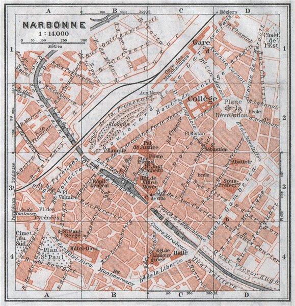 Associate Product NARBONNE antique town city plan de la ville. Aude carte BAEDEKER. SMALL 1907 map