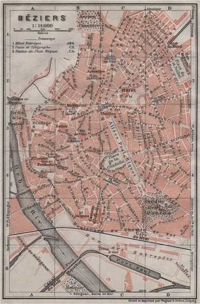 Associate Product BÉZIERS antique town city plan de la ville. Hérault. Beziers carte 1907 map