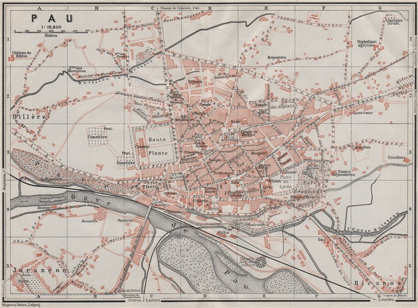 PAU antique town city plan de la ville. Pyrénées-Atlantiques carte 1907 map