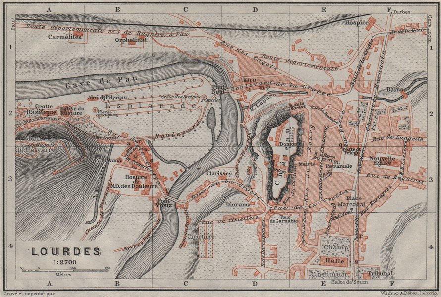 Associate Product LOURDES antique town city plan de la ville. Hautes-Pyrénées carte 1907 old map