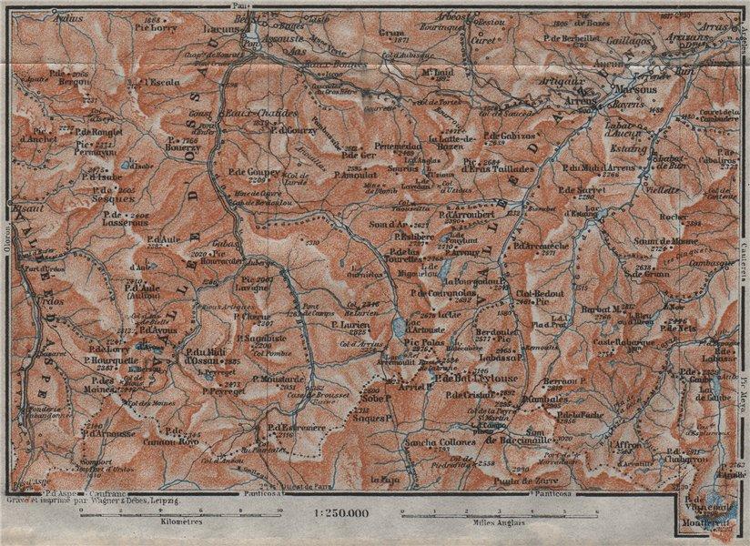 Associate Product Vallées d'OSSAU & d'AZUN topo-map. Laruns. Hautes-Pyrénées-Atlantiques 1907