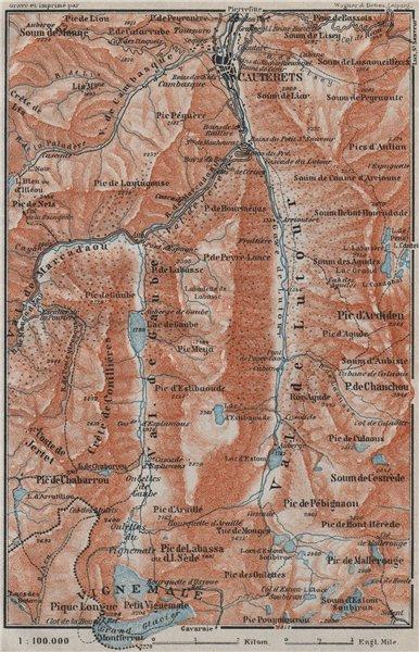 Associate Product CAUTERETS environs. Vals de Lutour & Gaube. Vignemale. Hautes-Pyrénées 1907 map