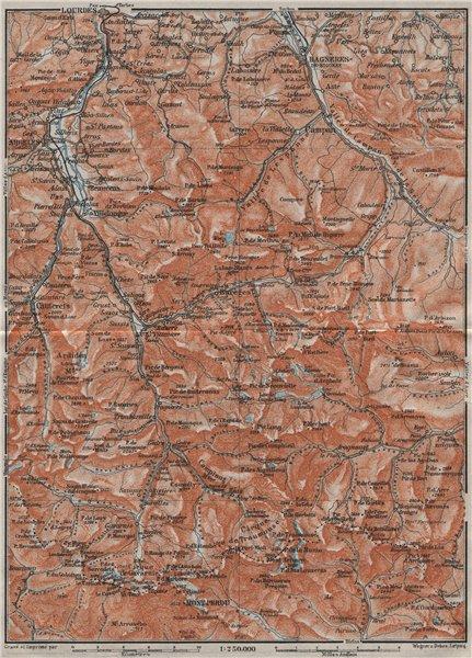 Associate Product HAUTES-PYRENEES. Lourdes Cauterets Barèges Gavarnie Mont Perdu carte 1907 map