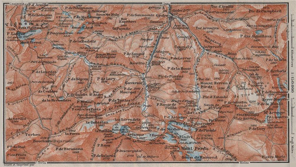 Associate Product CIRQUE DE GAVARNIE & MONT PERDU topo-map Monte Perdido Hautes-Pyrénées 1907