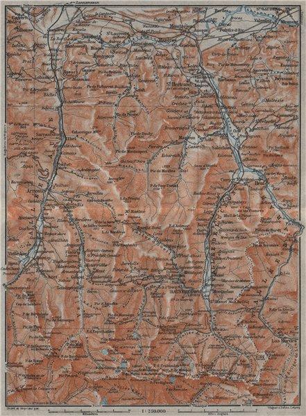 VALLEES D'AURE, DE LUCHON & D'ARAN topo-map. Haute-Garonne/Pyrénées 1907