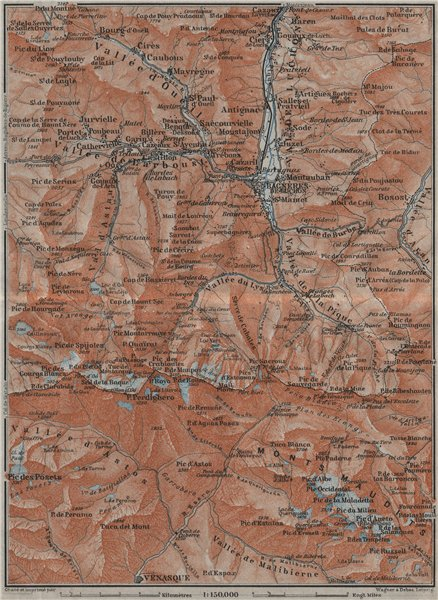 Associate Product VAL DE LUCHON/ MONTS MAUDITS Bagnères de Luchon topo-map Haute-Garonne 1907