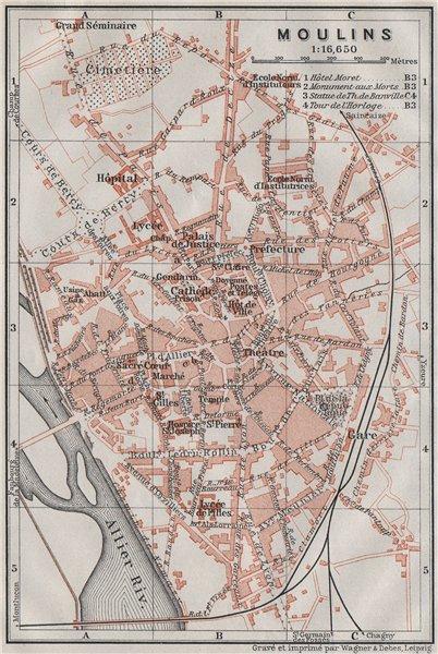 Associate Product MOULINS antique town city plan de la ville. Allier carte. BAEDEKER 1907 map