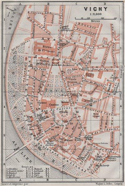 Associate Product VICHY antique town city plan de la ville. Allier carte. BAEDEKER 1907 old map