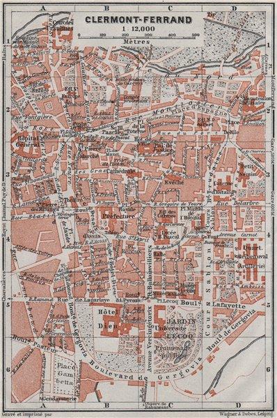 Associate Product CLERMONT-FERRAND antique town city plan de la ville. Puy-de-Dôme carte 1907 map