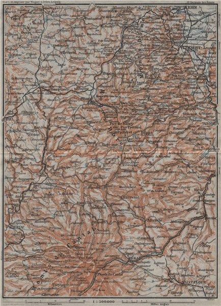 Associate Product Parc natural volcans d'AUVERGNE. Monts du Cantal Dore Dôme. Volcanoes 1907 map