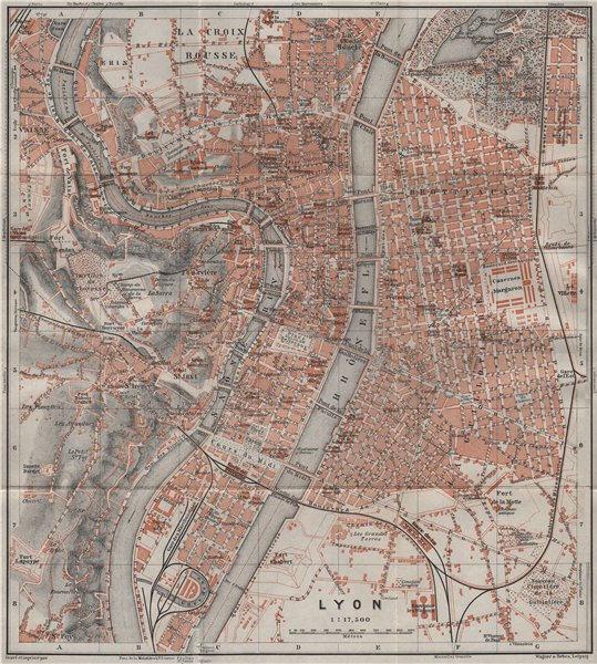 Associate Product LYONS LYON antique town city plan de la ville. Rhône carte. BAEDEKER 1907 map