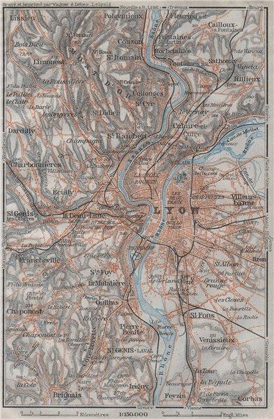 Associate Product LYON environs. Villeurbanne Ste-Foy Rillieux Caluire-et-Cuire. Lyons 1907 map