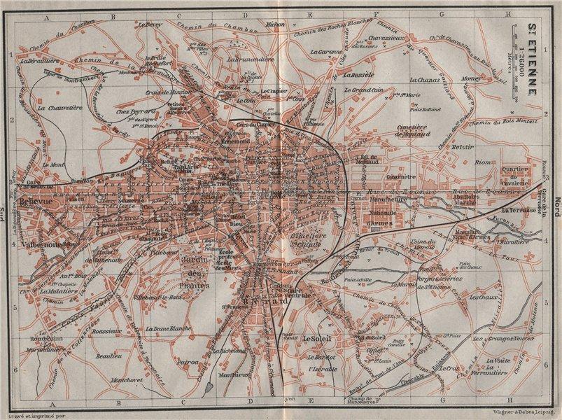 Associate Product ST-ETIENNE ST. ETIENNE antique town city plan de la ville. Loire carte 1907 map
