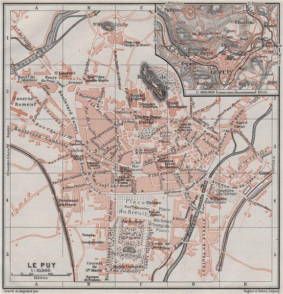 Associate Product LE PUY-EN-VELAY town city plan de la ville & environs. Haute-Loire 1907 map