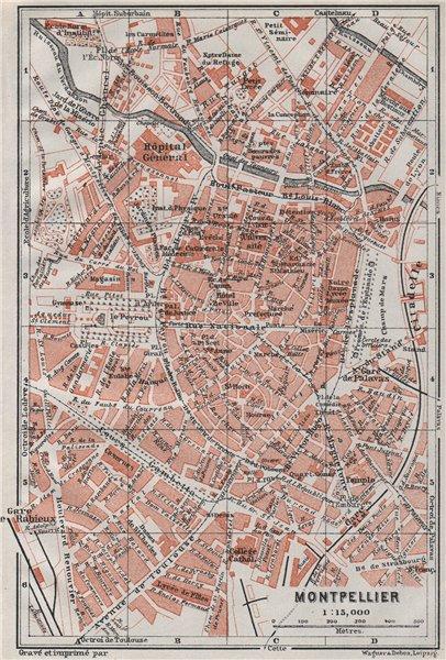MONTPELLIER antique town city plan de la ville. Hérault carte 1907 old map