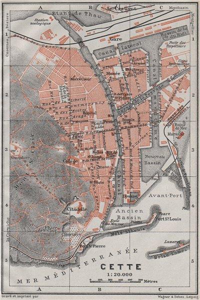 Associate Product CETTE SÈTE antique town city plan de la ville. Hérault carte. BAEDEKER 1907 map