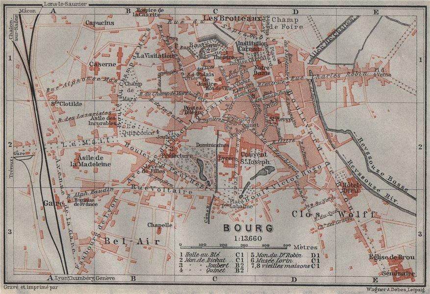 Associate Product BOURG-EN-BRESSE antique town city plan de la ville. Ain carte 1907 old map