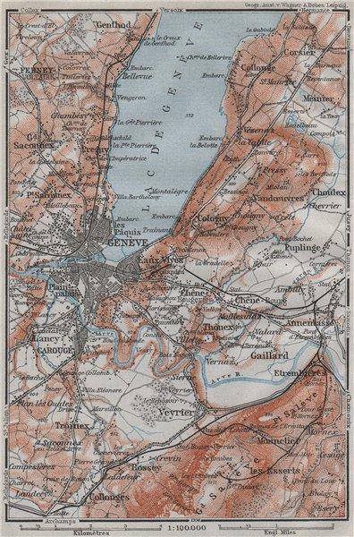 Associate Product GENEVA GENÈVE environs. Ferney Veyrier Collonges Cologny. Switzerland 1907 map