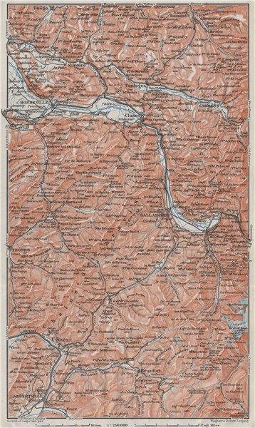 Associate Product HAUTE-SAVOIE. Chaine d'Aravis Albertville Sallanches Cluses Bonneville 1907 map